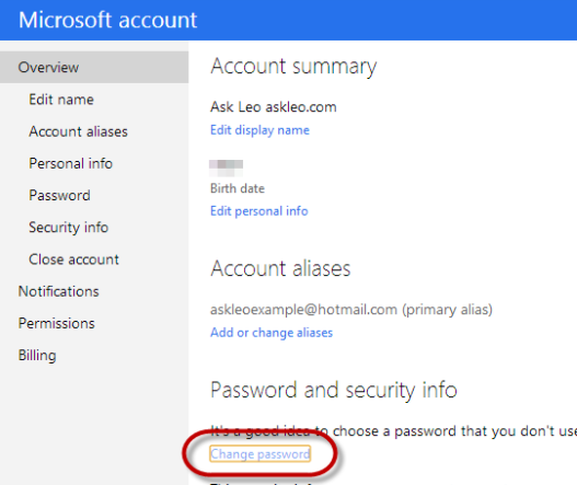 hotmail change password